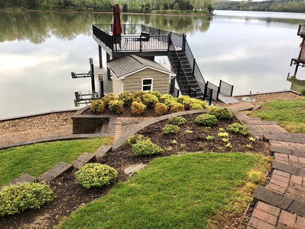 landscaping lake walkway2 before
